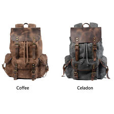 Oil Waxed Traveling Backpack Students Retro Canvas Rucksack Outdoor Shoulder Bag