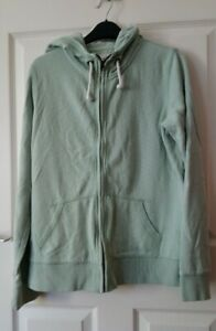 Fat Face Zip-up Hoodie Jumper Size 12 Mint Green 'light moss' with white flowers