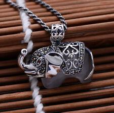 A01 Anhänger Elefant aus Sterling Silber 925 mit Katzenauge weiß und Markasit