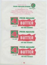 1960 NEW OLD STOCK BUTTER WRAPPER 4 SQUARE MADE BY VUE PAK GOOD CONDITION L100.