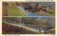 MI, Michigan  FORD & LINCOLN MOTOR CO PLANTS-Aerial Views  c1940's Postcard