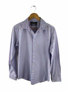 Peter Morrissey Button Up Shirt Men Size S Blue Pink Striped Long Sleeve Collar