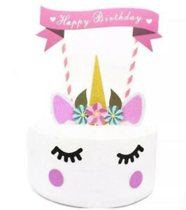11Pcs Unicorn Happy Birthday Party Cake Topper Set