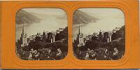 Bacharach Reno Magonza-Bingen Germania Stereo Tessuto Diorama Ca 1860