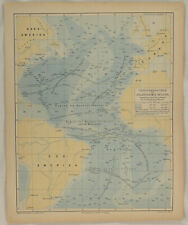 Nordamerika SEEKARTE Meteorologie Karte um 1880 Südamerika Nautik Atlantik Meer