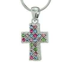 """Cross Pendant Made With Swarovski Crystal Jesus Multi Color 18"""" Chain Necklace"""