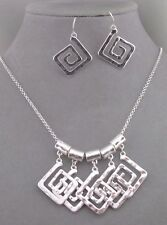 Hammered Silver Necklace Set Square Swirl Dangles Fashion Jewelry NEW
