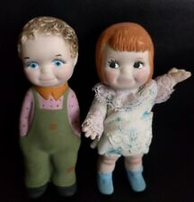 Vintage bisque hand painted boy girl doll figurines Cute!