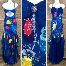 NWT Sue Wong Tropical Floral Dress SILK Hi Low Gown Embellished Ruffle Flamenco