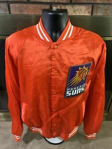 Vintage Phoenix Suns NBA Basketball Satin Snap Jacket Coat Mens Size XL Orange
