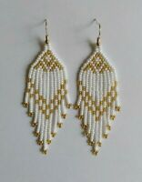 Native American Style Earrings Fringe Beaded Earrings Long Seed Bead