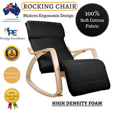 Wooden Rocking Recliner Arm Chair Lounge Adjustable Wood Bentwood Black Fabric