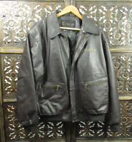 Snap-On Leather Bomber Jacket Mens L Dark Brown Quilted Full Zip