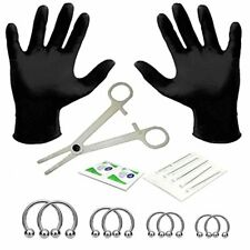 BodyJ4You 18PCS Professional Body Piercing Kit Barbell Horseshoe 14G  316L Steel