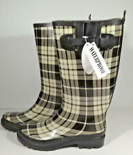 "Womens Rain Boots Black Cream Tartan Plaid Sz 8 Rubber Waterproof 14"" Tall New"