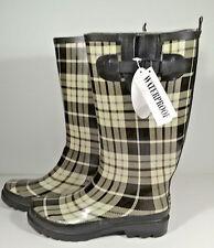 """Womens Rain Boots Black Cream Tartan Plaid Sz 8 Rubber Waterproof 14"""" Tall New"""