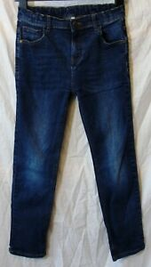 Boys M&S Dark Blue Whiskered Vintage Denim Straight Leg Jeans Age 11-12 Years