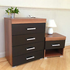 Chest of 4 Drawers & 1 Drawer Bedside Table in Black & Walnut Bedroom Furniture
