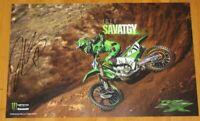 2019 Joey Savatgy signed Monster Kawasaki KX 450F Supercross Motocross Poster
