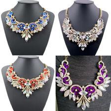 Elegant Women Crystal Big Flower Choker Statement Necklace Collar Chain Jewelry