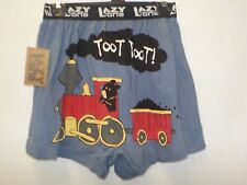 LAZY ONE MENS MEDIUM 32-34 BLUE BEAR TRAIN TOOT TOOT BOXERS NEW #7702