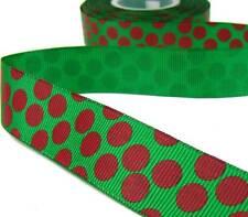 "2 Yds Christmas Red Fun Polka Dot Green Grosgrain Ribbon 7/8""W"