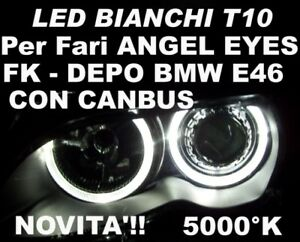 1 LAMPADINA LED CAN-BUS T10 W5W BIANCO 5000K per fari ANGEL EYES BMW E46 DEPO FK