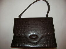 vint 60's SOCIALITES THEODOR moc croc alligator embossed brown  pin up hand bag