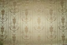 "STUNNING ""POMPEII DREAMS"" NEOCLASSICAL TOILE DAMASK FABRIC 10 YARDS GOLD"