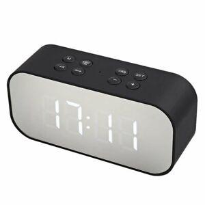 Wireless Bluetooth Speaker Mirror Surface Dual Alarm Clock LED USB TF MP3 Player