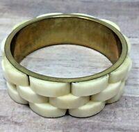 Vintage Bone Bracelet Wide Brass Bangle BOHO Style