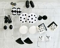 VINTAGE EARRING LOT COLLECTION BLACK WHITE CLIP ON BACKS DOT METAL LUCITE GLASS