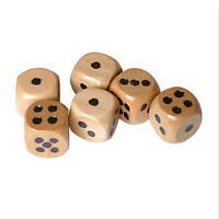 Set of 6 Wooden Dice Board Games Bar Party Toy Kids Family Games Set D6 16m V3J8