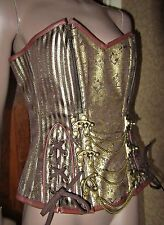 "Steampunk Quality STEEL BONED Brocade Antique Gold & Brown Corset 36-38ins 30""W"
