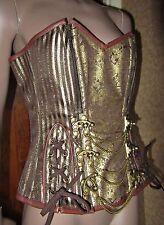 "Steampunk Steel boned Brocade Antique Gold & Brown Corset 30""W"