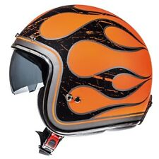 MT LE-MANS LOW PROFILE SKINNY HELMET CUSTOM CRUISER BOBBER ORANGE FLAMES MEDIUM