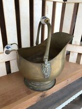 Vintage/Antique Brass Coal Bucket / Scuttle With Lion Heads & China Handles