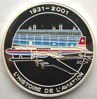 Congo 2004 DC-7 1000 Francs Silver Coin,Proof
