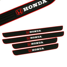 X4 Red Border Rubber Car Door Scuff Sill Cover Panel Step Protector for HONDA