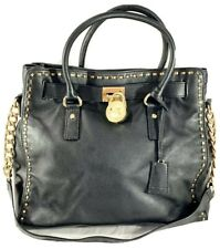 MICHAEL KORS Hamilton Authentic Black Leather Satchel Shoulder Bag