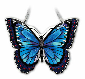 Amia Blue Morpho Butterfly, Hand-Painted Suncatcher, 4-1/2 Inches Wide 42334