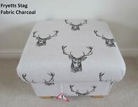 Storage Footstool Fryetts Stag Heads Fabric Pouffe Grey Deer Footstall Bespoke