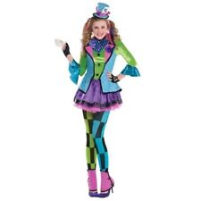 Sassy Mad Hatter Alice In Wonderland Girls Costume Fairytale Childrens 12-14yrs