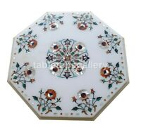 """12"""" Mother of Pearl Floral Inlay Marble Small Coffee Table Top Patio Decors W317"""