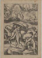 ZEUS Blitze Titanen KAMPF Original Kupferstich um1630 Kunst OVID Mythologie GOTT