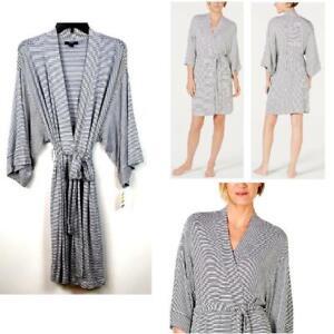 Alfani Womens Soft Striped Knit Kimono Wrap Robe White Choose Size New