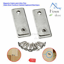 Magnetic Catch Latch Ultra Thin Glass Door Furniture Cabinet Cupboard Steel 2pcs