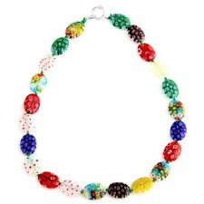 Millefiori Glass Lampwork Beads Necklace 18x13mm HOT B8S8