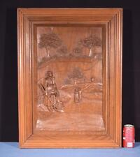 *Large French Antique Deep Carved Framed Panel in Solid Walnut Wood Breton
