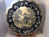 Bombay Company Asian Oriental Tray Platter Plate Dish Blue White Porcelain